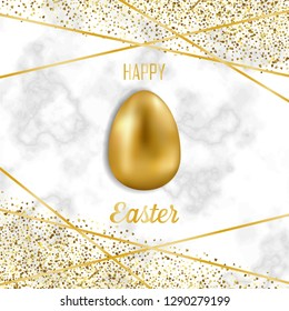 Happy Easter greeting card with golden easter objects and glitter on white marble background. Luxury holliday postcard with gold egg.