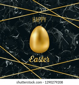 Happy Easter greeting card with golden easter objects and glitter on black marble background. Luxury holliday postcard with gold egg.