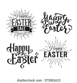 Happy Easter greeting card. Hand Drawn logo lettering. Easter Holidays lettering for invitation, greeting card, prints and posters. Typographic design. Vector illustration.