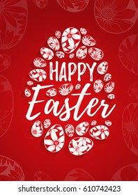 Happy Easter greeting card with hand drawn lettering and white eggs with floral elements on red background