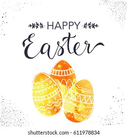 Happy Easter greeting card with hand drawn lettering and doodle eggs.