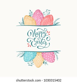 Happy Easter greeting card isolated on white background. Easter eggs composition hand drawn. Decorative vertical frame from eggs with leaves and calligraphic wording.
