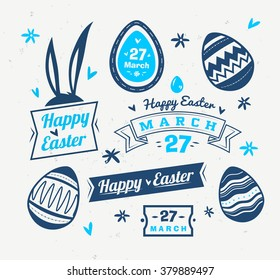 Happy easter greeting card easter cake stock vector royalty free happy easter greeting card with logos labels and eggs vector cartoon illustration cute stylish m4hsunfo