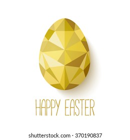 Happy Easter greeting card in low poly triangle style.  Flat design polygon of golden egg isolated on white background. Vector illustration. Perfect for greeting card or elegant party invitation.