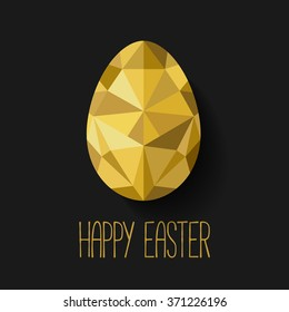 Happy Easter greeting card in low poly triangle style.  Flat design polygon of golden egg isolated on black background. Vector illustration. Perfect for greeting card or elegant party invitation.