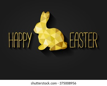 Happy Easter greeting card in low poly triangle style.  Flat design polygon of golden easter bunny isolated on black background. Vector illustration.