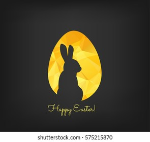 Happy Easter greeting card in low poly triangle style. Flat design polygon of golden easter egg and bunny isolated on black background