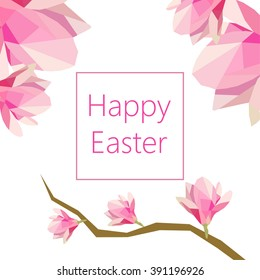 Happy Easter greeting card with magnolia. Vector illustration