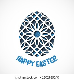 Happy Easter greeting card. Ornamental egg in paper art style. Vector illustration