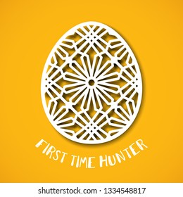 Happy Easter greeting card. Ornamental egg in paper art style on yellow background. Templates for laser cutting. First time hunter