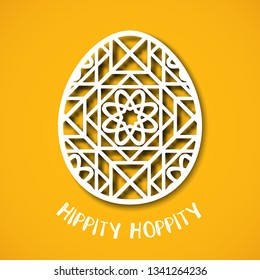 Happy Easter greeting card. Ornamental egg in paper art style on yellow background. Templates for laser cutting. Hippity hoppity