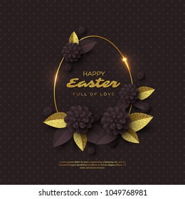 Happy Easter greeting card. Paper cut flowers with golden glitter frame, holiday background. Vector illustration.