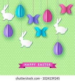 Happy easter greeting card with  papercut  colorful  eggs,  butterfly and  bunny.  Vector flat design   template.