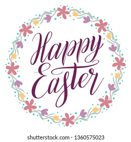Happy Easter greeting card. Plum color script lettering inscription and wreath with floral ornament. Flower decor, round frame, calligraphic cursive. Pastel and dusty colors. Holiday illustration.