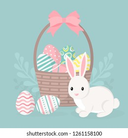 Happy easter greeting card, poster with cute bunny. Rabbit and basket with easter eggs. Vector illustration.