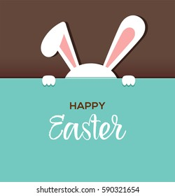 Happy Easter greeting card, poster, with cute, sweet bunny