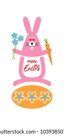 Happy Easter greeting card with rabbit, egg and lettering. Creative design for label, print, poster, greeting card, web and logo.