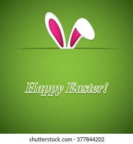 Happy Easter greeting card with rabbit ears.