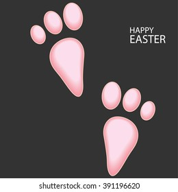 Happy Easter greeting card with rabbit footsteps. vector illustration