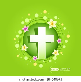 Happy Easter greeting card with religious cross and flowers on green background