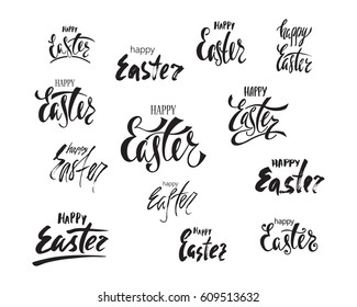 Happy Easter greeting card. Set of handwritten vector lettering design. Calligraphic phrase.