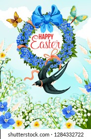 Happy Easter greeting card with spring holiday flower wreath. Flower field with daffodil, lily of the valley and forget-me-not floral banner, adorned with ribbon bow, batterfly and swallow bird