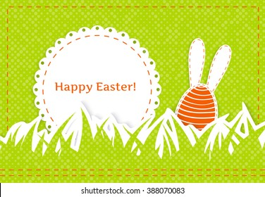 Happy easter greeting card - stylized egg with long  ears on textured green background, round white napkin with place for your text, textile applique,  vector illustration
