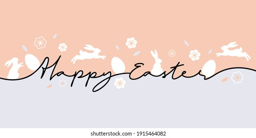 Happy Easter greeting card. Trendy Easter design with typography, eggs and bunnys in pastel colors. Modern minimal style. Horizontal poster for cover, social media, fashion ads, banner, website header