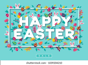 Happy Easter greeting card with typography design and paper cut shapes on blue background. Vector illustration. Colorful 3D carving art. Thin white frame with floral elements and rabbits
