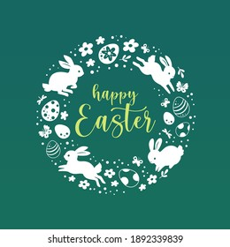 Happy Easter greeting card. Vector illustration with white silhouettes of bunnies, Easter eggs and flowers in the form of a circle. Isolated on green background