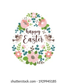Happy Easter greeting card. Vector illustration of an Easter egg made of pink spring flowers and birds with calligraphic inscription inside. Isolated on white background