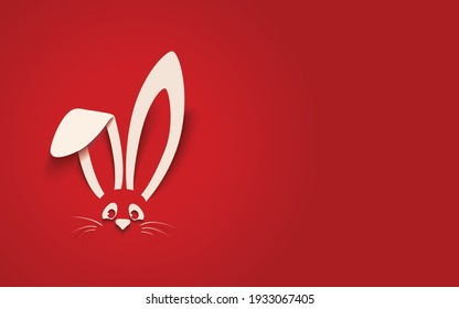 Happy Easter greeting card with white paper cut Easter Bunny Ears isolated on a red background,vector illustration