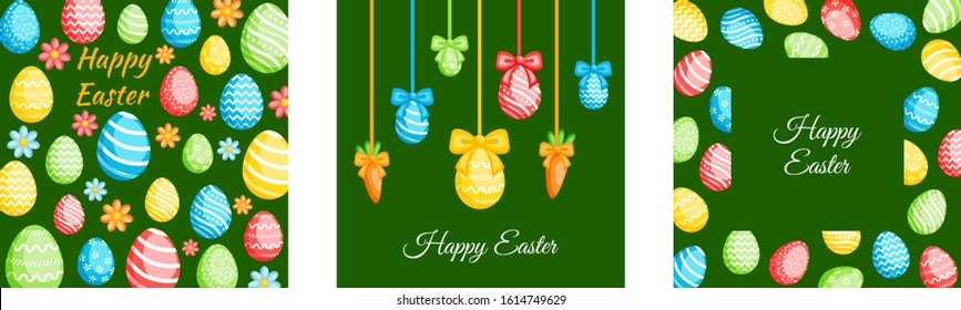 Happy Easter greeting cards set. Easter holiday invitations templates collection with colorful eggs. Vector illustration. - Shutterstock ID 1614749629