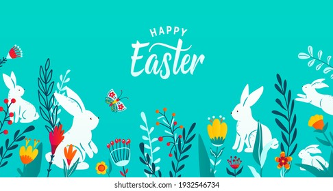 Happy easter greeting frame banner background with paper cut bunnies, flowers, grass, butterfly. Minimal 3d style floral background. Vector illustration.