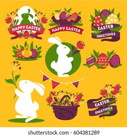 Happy Easter greeting logo signs colorful flat vector poster. Traditional symbolic elements for celebrating spring holiday with ribbons. White bunny holding flowers, painted eggs, baskets with blossom