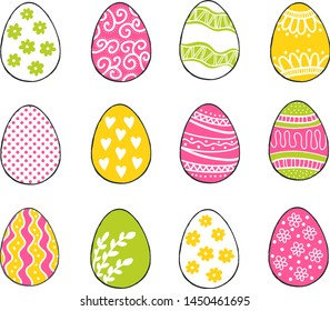 Happy Easter greeting templates card colors green, pink, yellow with hand drawn modern eggs. Vector illustration.