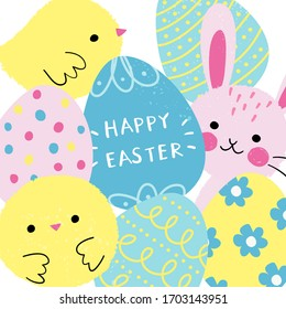 Happy Easter greetings card with cute characters in cartoon style. Colorful painted eggs, Easter bunny and chicks. Vector illustration, all elements are isolated.