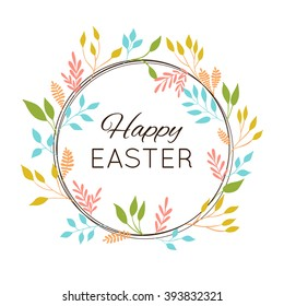 Happy Easter greetings card. Vector illustration with branches and leaves.