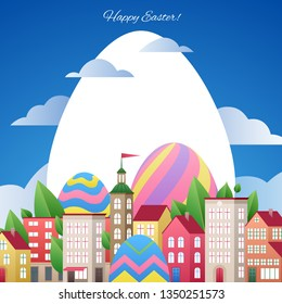Happy Easter greetings illustration with eggs and city. Colorful spring holidays design with flowers and leaves.