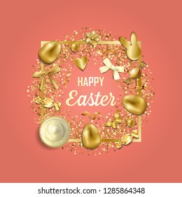 Happy Easter gteeting card with golden easter objects and glitter on coral background. Luxury holliday postcard.