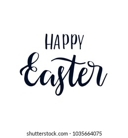 Happy easter hand drawn brush lettering, isolated on background. Vector illustration card.