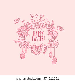 Happy Easter Hand Drawn Doodle Vector - Cute illustration of a cloud with the words happy easter surrounded by a bunny, chick, easter eggs, butterflies, swirls, and flowers