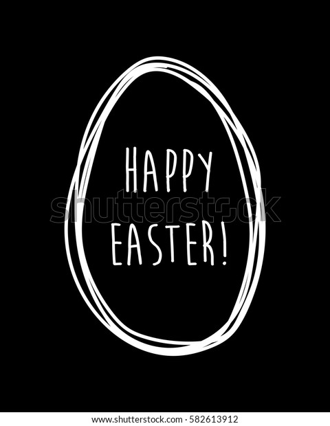 Happy Easter. Hand drawn egg silhouette. Beautiful design template. Stamp. Greeting card. Easter decor. Vector illustration. Black and white.