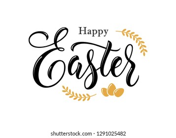 Happy Easter hand drawn lettering. Text banner or greeting card design element. Modern calligraphy font.