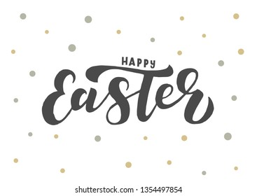 Happy Easter hand drawn lettering. Good for banner, poster, flyer, greeting card, web design. Vector illustration.