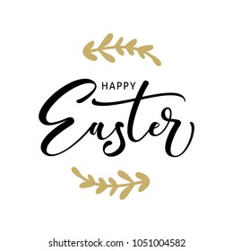 Happy Easter hand drawn logotype. Lettering for greeting card, invitation template.