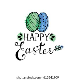 Happy Easter hand drawn watercolor card with eggs. Watercolor Easter design with lettering and watercolor splashes.