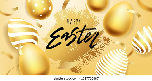 Happy Easter hand lettering with gold realistic looking egg. Vector typography. Quote as Pascha logotype, badge and icon. Resurrection Sunday postcard, card, invitation, poster, banner template.