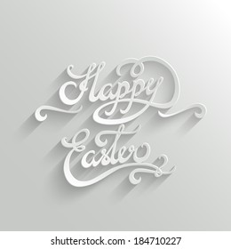 Happy Easter Hand lettering Greeting Card. Typographical Vector Background. Handmade calligraphy. Easy paste to any background