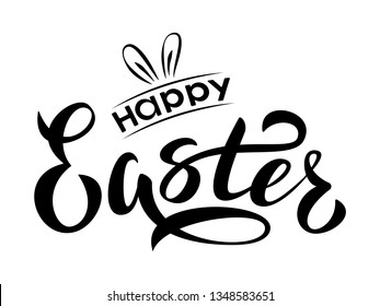 Happy Easter hand lettering text. Happy Easter sign with bunny ears. For Easter logotype, badge and icon, postcard, card, invitation, poster, banner.  Vector season greeting.